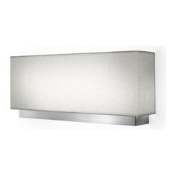 """Estiluz - Estiluz A-2810 Miris Wall Sconce - Product Details: This beautiful wall sconce has been designed by Estudio Estiluz and is made in Spain by Estiluz. This fixture is made of brushed nickel with a white fiberglass shade and is set horizontally. This wall sconce uses a fluorescent light source. Details:                                     Manufacturer:                                      Estiluz                                                     Designer:                                     Estudio Estiluz                                                     Made in:                                     Spain                                                     Dimensions:                                      Height: 8.25 (21cm) X Width: 19.6"""" (50cm) X Extension: 4"""" (10 cm)                                                      Light bulb:                                      2 x 93W 2G11 fluorescent                                                     Material:                                      Metal, Fiberglass"""