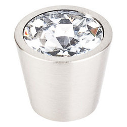 """Top Knobs - Clear Crystal Center Knob 3/4"""" w/ Brushed Satin Nickel Shell - Width - 3/4"""", Projection - 3/4"""", Base Diameter - 9/16"""""""