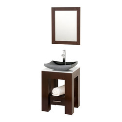 Wyndham Collection - Amanada Vanity in Espresso, White Stone Top, Black Granite Sink - Introducing the beautiful and unique Amanda bathroom vanity. This fresh design showcases style and versatility in a slim space, with an open storage area for towels, baskets, and other toiletries, and a drawer for other accessories. It's the perfect powder room vanity. Available with a white countertop and matching sink or smoke glass countertop and matching sink. Optional Black Granite upgraded sink also available.