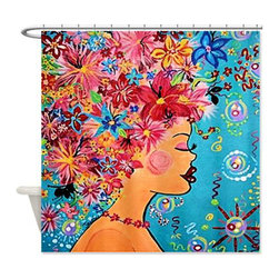 usa - Flower Girl Shower Curtain - Beautiful shower curtains created from my original art work. Each curtain is made of a thick water resistant polyester fabric. The permanently applied art work appears on the front side with the inside being white. 12 button holes for easy hanging, machine washable and most importantly made in the USA. Shower rod and rings not included. Size is a standard 70''x70''