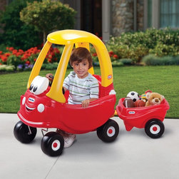 MGA Entertainment - Little Tikes 30th Anniversary Cozy Coupe & Trailer Riding Push Toy Multicolor - - Shop for Tricycles and Riding Toys from Hayneedle.com! The Little Tikes Cozy Coupe 30th Anniversary Riding Toy finally has an accessory to let your little one bring more participants along for the ride. An included trailer hitch will let you attach the Cozy Coupe trailer and take their stuffed animals or little sister out on the open road. The solid plastic construction and caster wheels are what you want to see before your little one jumps in but they're going to be excited about the working horn removable gas cap and opening doors. For a bit of added versatility this car also features a removable floor and rear-mounted push-handle for parent-driven fun. When your child has reached that scenic rest stop they can try the open-and-close gas cap and make sure use of the cup holders. Wherever they roll the rugged front tires will rotate 360-degrees to prevent rolling. Thirty years of fun means that you know your kids will enjoy it. This car has a recommended weight limit of 50 lbs.About Little TikesFounded in 1970 the Little Tikes Company is a multi-national manufacturer and marketer of high-quality innovative children's products. They manufacture a wide variety of product categories for young children including infant toys popular sports play trucks ride-on toys sandboxes activity gyms and climbers slides pre-school development role-play toys creative arts and juvenile furniture. Their products are known for providing durable imaginative and active fun.In November of 2006 Little Tikes became a part of MGA Entertainment. MGA Entertainment is a leader in the revolution of family entertainment. Little Tikes services the United States from its headquarters and manufacturing facility in Hudson Ohio but also operates several manufacturing and distribution centers in Europe and Asia.