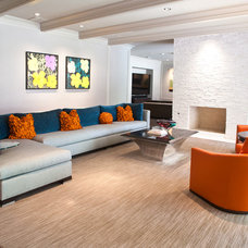 Transitional Family Room by RUDA Photography