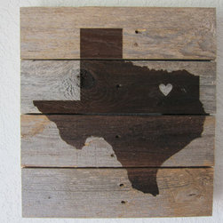 Custom State Love Silhouette by Craft Haus Love - This wall art (that works indoors or outdoors) combines rustic wood with a laser engraving of your state — and a heart for that special town you call home. I love the weathered wood background paired with the mod silhouette.