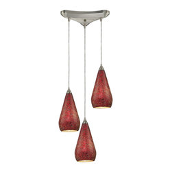 Elk Lighting - Elk Lighting 546-3RBY-CRC 3 Light Pendant in Satin Nickel w/ Ruby Crackle - 3 Light Pendant in Satin Nickel w/ Ruby Crackle belongs to Curvalo Collection by Elk Lighting Individuality Is What Defines This Exquisite Line Of Hand Blown Glass. Each Piece Is Meticulously Hand Blown With Up To Three Layers Of Uncompromising Beauty And Style.  Pendant (1)