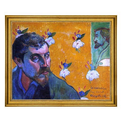 """Paul Gauguin-16""""x20"""" Framed Canvas - 16"""" x 20"""" Paul Gauguin Self Portrait, Les Miserables framed premium canvas print reproduced to meet museum quality standards. Our museum quality canvas prints are produced using high-precision print technology for a more accurate reproduction printed on high quality canvas with fade-resistant, archival inks. Our progressive business model allows us to offer works of art to you at the best wholesale pricing, significantly less than art gallery prices, affordable to all. This artwork is hand stretched onto wooden stretcher bars, then mounted into our 3"""" wide gold finish frame with black panel by one of our expert framers. Our framed canvas print comes with hardware, ready to hang on your wall.  We present a comprehensive collection of exceptional canvas art reproductions by Paul Gauguin."""