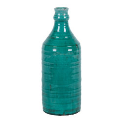 #N/A - Tanahu (Large) - Tanahu (Large). brightly colored ceramic vase with tinted, high-gloss glass and ripple like texture