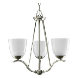 Progress - Progress Lakeshore 1 Tier Chandelier in Brushed Nickel - Shown in picture: 3-Lt. Chandelier with gentle curved arms in a Brushed Nickel finish. Smooth on the outside - this collection�s glass appears as if one is looking at pebbles through water. Perfect for spa-inspired bath suites.