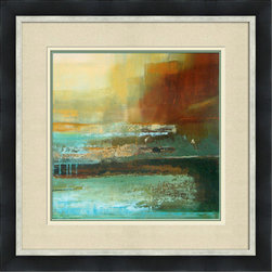 """Mantle Art Company - Shulman """"Like Living in Sunday"""" modern fine art - Beautiful modern art custom framed by designers to bring out the best in this piece of art. Made in the USA"""
