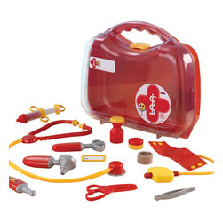 """KidKraft - Kidkraft Kids Home Indoor Role Play Imaginative Toy Doctor's Take Along Kit - It's no fun being sick, but young boys and girls just love playing doctor. Our Doctor's Kit Play Set comes with a pretend stethoscope, a pretend blood pressure monitor and several other fun accessory pieces. Dimension: 11.75""""Lx 3.75""""Wx 10.25""""H"""
