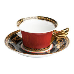 Versace - Medusa Red Porcelain Cup and Saucer - The Medusa collection by Gianni Versace reflects the unmistakably rich, color-intensive world of Versace. The main focal point is a magnificent, gold-colored Medusa head, surrounded by ornate baroque decorations. This collection will serve as a brilliant and extremely elegant highlight for your table.
