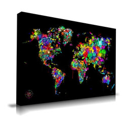 """Apt2B - World of Colors' Print by Maxwell Dickson, 24"""" x 36 - Color your world — or at least your walls — with this vibrant artwork. Printed with water-based, ecofriendly inks on museum-quality gallery wrapped canvas, continents burst to multicolored life against the striking black background. It comes in different sizes ready to hang."""