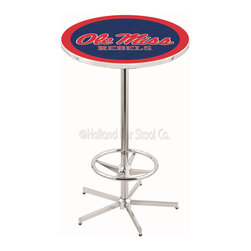 Holland Bar Stool - Holland Bar Stool L216 - 42 Inch Chrome Ole' Miss Pub Table - L216 - 42 Inch Chrome Ole' Miss Pub Table  belongs to College Collection by Holland Bar Stool Made for the ultimate sports fan, impress your buddies with this knockout from Holland Bar Stool. This L216 Ole' Miss table with retro inspried base provides a quality piece to for your Man Cave. You can't find a higher quality logo table on the market. The plating grade steel used to build the frame ensures it will withstand the abuse of the rowdiest of friends for years to come. The structure is triple chrome plated to ensure a rich, sleek, long lasting finish. If you're finishing your bar or game room, do it right with a table from Holland Bar Stool.  Pub Table (1)
