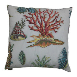 DV Kap - Sur La Mer Coastal Pillow - Rich, embroidered details make up these incredible under-the-sea coastal pillows splashed with tropical shells and coral images on an ivory background.  Completed with a hidden zipper and down-insert.