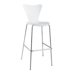 "LexMod - Ernie Bar Stool in White - Ernie Bar Stool in White - Minimalist in nature though it may be, this seat doesn't skimp on comfort. Its seemingly rigid design, flexes to the contours of the human body, making it a great side chair for homes and businesses alike. Set Includes: One - Ernie Chair Solid Plywood Seat, Chrome Legs Overall Product Dimensions: 19""L x 21""W x 45.5""H Seat Height: 31""H - Mid Century Modern Furniture."