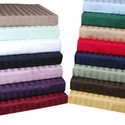 Bed Linens - Egyptian Cotton 300 Thread Count Stripe Sheet Sets Cal-King Beige - 300 Thread Count Stripe Sheet Sets