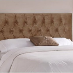 Tufted Mystere Upholstered Headboard - Add some extra touches of classic and modern to your bedroom decor with the addition of the Tufted Mystere Upholstered Headboard. Featuring a classic design, this headboard can enhance the appearance of your bedroom and a cozy night's sleep. With pleasing diamond-shaped button tufted detailing and soft velvet upholstery, this headboard exudes comfort and elegance. The headboard is handmade in America and can be easily fixed to most metal bed frames. Requires spot cleaning only and is available in several colors and bed sizes twin, queen, king, and California king.About Skyline Furniture Manufacturing Inc.Skyline Furniture was founded in 1948 with the goal of producing stylish, affordable, quality furniture for the home. After more than 50 years, this family-run business is still designing and manufacturing unique products that meet the ever-changing demands of the modern home furnishing industry. Located in the south suburbs of Chicago, the company produces a wide variety of innovative products for the home, including chairs, headboards, benches, and coffee tables.