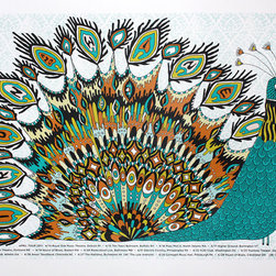 Iron and Wine April 2011 Handprinted Tour Poster by Nate Duval - Funky peacock print and I love Iron and Wine! I ordered this print to go on the wall in my newborn's peacock-themed nursery.