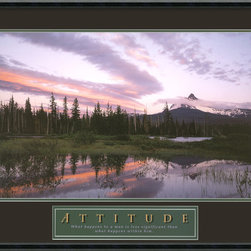 Amanti Art - Attitude: Moonrise Framed Print - The spectacular splendor of the American wilderness, captured at moonrise — what could be more inspiring? This gallery quality print, heightened by words you'll want to live by, is framed in beveled black wood to make a striking statement in your favorite setting.