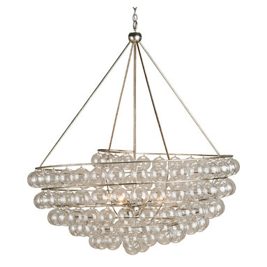 Stratosphere Chandelier by Currey and Company - Stratosphere Chandelier features wrought iron in Silver Leaf finish with blown glass balls.