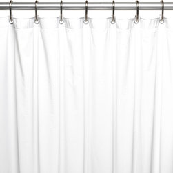 "Extra Long (78'' x 72''), 5 Gauge Vinyl Liner w/ Metal Grommets, White, 78"" X 72 - Extra long 5 gauge vinyl shower curtain liner with metal grommets in White, size 72"" wide x 78"" long. This Extra Long (72'' wide x 78'' long) Shower Curtain Liner--Specially designed to fit where a standard size curtain is too short,--is made of a heavy, 5 gauge vinyl that easily wipes clean with a sponge in warm, soapy solution. Additionally, rust-proof metal grommets on top of the liner prevent unsightly tears during installation, removal, and everyday use. Not only will this liner protect your fabric shower curtain, it serves nicely as a standalone shower curtain. Here in White, you can find this style liner in bone, frosty clear, and super clear. This liner is also available in a slightly longer (72'' wide x 84'' long) size.  Wipe clean with damp sponge with warm soapy cleaning solution"