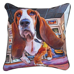 """Manual - Pair of """"Bumping Along"""" Basset Hound Dog Print Throw Pillows 18 Inch - This pair of 18 inch by 18 inch printed fabric throw pillows adds a wonderful accent to the home of any dog lover. The pillows feature a Basset Hound dog print called """"Bumping Along"""" by artist Robert McClintock on the front, and the back is solid black. They have 100% polyester stuffing. These pillows are crafted with pride in the Blue Ridge Mountains of North Carolina, and add a quality accent to your home."""