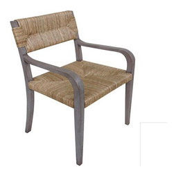Kenon Dining Chair - Woven seagrass is the perfect element to make these dining chairs a smart choice for stylish, modern, and yet earthy style. Frame is made of teak wood, with either a natural or dusk finish, and comfortable for dining in style!