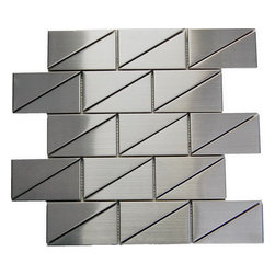 "Oddysey Subway 2""X4"" Stainless Steel Mosaic - 2x4"", Square and triangle Mix ,Stainless Steel Mosaic  This subway is sure to create a stunning modern effect .This tile is ideal for steel back splashes, accent walls, fireplaces and more. The tiles in this sheet are mounted on a nylon mesh which allows for an easy installation."