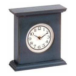Yield House - Clocks Blue Pine Mantle Clock 9'' x 8''   64184 - Clock. Our antique reproductions have quartz movements. Powered by one AA battery (not included). Solid pine- 9 in. x 8 in.
