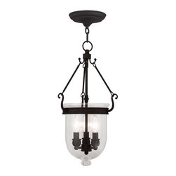 Livex Lighting - Jefferson Black Three Light Chain Hung Pendant with Clear Glass - - Glass and Shade Type: Clear Glass   - Chain: 3-Feet   - Wire: 8-Feet   - Canopy Size: 6-Inches   -  Suitable for Damp Locations   - Finish/Color: Black   - Product Width: 10   - Product Depth: 10   - Product Weight: 8   - Product Height: 25   - Material: Chrome Livex Lighting - 5063-04