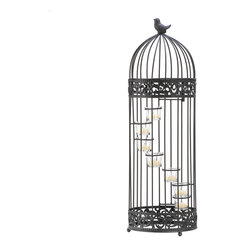 "Koehler Home Decor - Koehler Home Decor Birdcage Staircase Candle Stand - A little bird sits atop this darling cage that houses spiral stair-stepped tealight candle cups. Birdcage door provides easy access to the candles. Weight 4.7 lbs. 9"" diameter x 28"" high. Iron and glass. Candles not included.Weight 4.7 lbs. Material:Iron and glass."