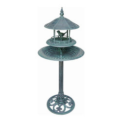 Songbird Pedestal Birdbath - Verdigris - The unique Songbird Pedestal Birdbath provides ample room for birds to perch and bathe. The ornate base adds elegance and will help this piece become an instant classic in your garden.