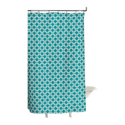 """American Made Dorm & Home - Shower Curtain, Turquoise Metro - All-Cotton Shower Curtain in colors and patterns to perk up your bath! 72""""x72"""" with button hole openings for shower hooks.  Shower hooks not included."""