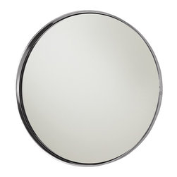 Arteriors - Ollie Mirror - Like a porthole to the sea, a deep well of reflection or a rabbit hole of magical discovery, this mirror has endless possibilities. The clean circle of aluminum and mirrored glass would look stunning on its own, but several in a group would be otherworldly.