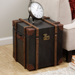 None - Journey Black Croc-embossed Leather Trunk Side Table - Enhance your home, living or bed decor with the uniquely styled Journey trunk side table. With a soft, durable cover and spacious interior, this timeless table is perfect for hiding storage and adding a touch of rustic style to any room.