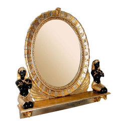 """Design Toscano - King Amenhotep Egyptian Statue Vanity Mirror - Perfect for your boudoir or spa table, this vanity mirror is a scaled interpretation of what the great pharaoh Amenhotep must have owned. Mirrors were highly prized by Egyptians and only wealthy, upper-class members of their society had access to such luxury items. Ringed with hieroglyphs and two sculptures of the servants of Pharaoh Amenhotep, this beautifully hand-painted, nearly three-foot-diameter mirror is sure to turn heads in home or gallery. Features: -Cast in quality designer resin. -Hand painted. -Three foot diameter mirror is sure to turn heads in home or gallery. -Dimensions: 31"""" H x 31.5"""" W x 9"""" D."""