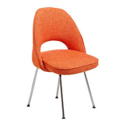 """LexMod - Cordelia Dining Side Chair in Orange - Cordelia Dining Side Chair in Orange - Participate in renewed growth and actualization with the Cordelia Side Chair. Sit comfortably as an aspirational back and up-surging arms compliment a dual-tone tweed fabric cushion. Sleek chrome legs solidify the progress as unlocked potentials are established with ease. Set Includes: One - Cordelia Side Chair Comfort combined with solid form, Dual-tone upholstered tweed cushion, Chrome legs with non-marking feet Overall Product Dimensions: 17.5""""L x 22""""W x 33""""H Seat Height: 20""""H - Mid Century Modern Furniture."""