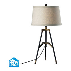 HGTV HOME - HGTV HOME HGTV309 Hgtv Home 1 Light Table Lamps in Restoration Black / Aged Gold - Functional Tri-Pod Table Lamp