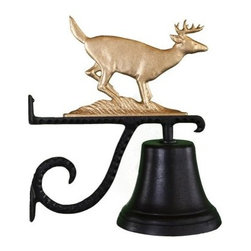 Cast Bell with Gold Buck Ornament - A golden buck proudly crowns the Cast Bell with Gold Buck Ornament. Made for use indoors or out, this bell mounts to any wall and is made of quality aluminum with a baked-on black enamel finish. The decorative scrolled bracket makes it complete.