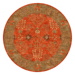 Jaipur Rugs - Transitional Oriental Pattern Red /Orange Wool Tufted Rug - PM51, 8'RD - The Poeme Collection takes traditional designs and re-invents them in a palette of modern, highly livable colors. Each design is made from premiere hand-spun wool and crafted with precision for the look and feel of a hand-knotted rug, at the more affordable cost of a hand-tufted. Poeme will effortlessly coordinate individual design elements to finish any room.