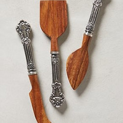 "Anthropologie - Loches Cheese Knives - Three piece set. Sheesham wood, aluminum. Hand wash. 8.5""H, 1.5""W. Imported"