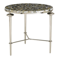 Lexington - Aquarius Silver Shell Lamp Table - This Lamp Table is made from Abalone shell top coated in clear epoxy with a polished cast metal base in antique silver finish. A simply must-have table lamp for everyone who has has sense of style.