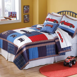 Cars Boys Quilt Set - This ready to go quilt is made of a 100% cotton face and fill for durability. We carefully pre-wash each quilt and sham to ensure that you get that soft comfortable feel as soon as it comes out of the package. This quilt is decorated with every boys favorite thing, cars! Beautiful shades of blue and red enhance the appeal of this boys quilt. It is sure to be a hit and an awesome addition to your boys bedroom decor!