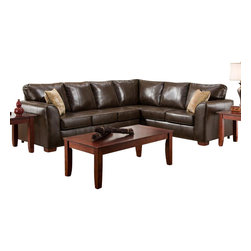 Chelsea Home Furniture - Chelsea Home Tioga 2-Piece Sectional in Bentley Bonded Brown - Tioga 2-Piece Sectional in Bentley Bonded Brown - Verve Canyon Pillows belongs to the Chelsea Home Furniture collection