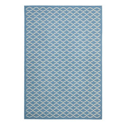 "Safavieh - Indoor/Outdoor Courtyard 6'7""x9'6"" Rectangle Blue - Beige Area Rug - The Courtyard area rug Collection offers an affordable assortment of Indoor/Outdoor stylings. Courtyard features a blend of natural Blue - Beige color. Machine Made of Polypropylene the Courtyard Collection is an intriguing compliment to any decor."