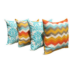 Land of Pillows - Panama Wave Sunset Chevron and Luminary Turquoise Outdoor Throw Pillow - 4 Pack, - Fabric Designer - Waverly