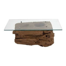 Benzara - Lumpang Coffee Table Reclaimed Wood with Artistic Design - Lumpang coffee table reclaimed wood with artistic design. Made from reclaimed common wood, this Lumpang coffee table was originally in ancient times a tool meant to smash rice into flour. Some assembly may be required.