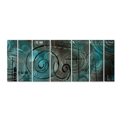 ALL MY WALLS - Megan Duncanson 'Aqua Mist' Metal Wall Sculpture - Create some buzz by adding this conversational piece by Megan Duncanson to the walls of your home. The hand sanded finish on the metal creates a unique three-dimensional effect.  As you pass by,the artwork appears to move when light is reflected.