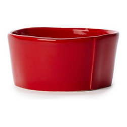 "Vietri - Vietri Lastra Stoneware Set of 4 Cereal Bowls 6""D, 3""H, Red - The soft organic shapes of the Lastra white cereal bowl are ideal for serving your favorite cereal, ice cream or even fruit and yogurt! Create a fun set of 4 stacking bowls by pairing the Lastra condiment bowl, cereal bowl, medium serving bowl and large serving bowl. This set would make a great gift too! Made in Tuscany of Italian stoneware. Microwave, freezer, dishwasher and oven safe and highly resistant to chipping."