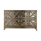 """Hooker Furniture - Fleur-de-Lis Mirrored Credenza - This is glamour — cubed! Did you know that mirrored furniture can actually make your space look bigger? If you live in a small space this credenza can give """"a barely there"""" look. Of course, that's only if you can overlook the exquisite detailing."""