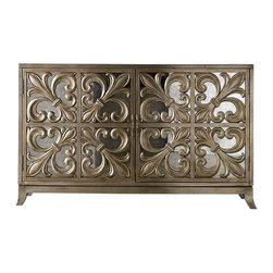 "Hooker Furniture - Fleur-de-lis Mirrored Credenza - This is glamour — cubed! Did you know that mirrored furniture can actually make your space look bigger? If you live in a small space this credenza can give ""a barely there"" look. Of course, that's only if you can overlook the exquisite detailing."